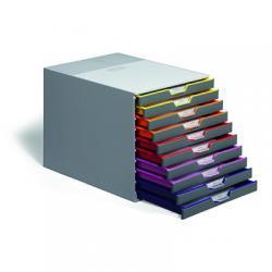 VARICOLOR pojemnik z dziesięcioma kolorowymi szufladkami. Wymiary: 280x292x356 mm (WxSxG)