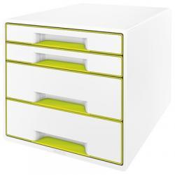 Pojemnik z 4 szufladami Leitz WOW, perłowy biały / zielony